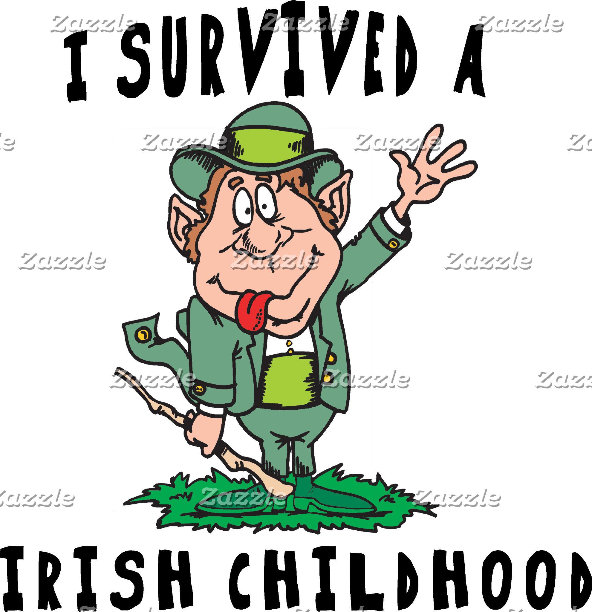 Funny Irish - I Survived A Irish Childhood T-Shirt