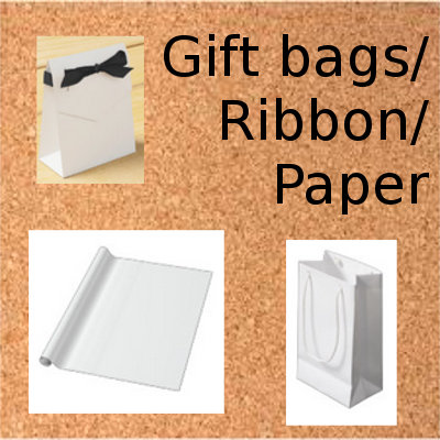 Gift bags/ ribbon/ paper