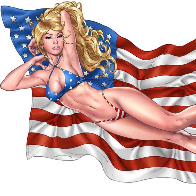 American Flag and Patriotic Pinup Girls