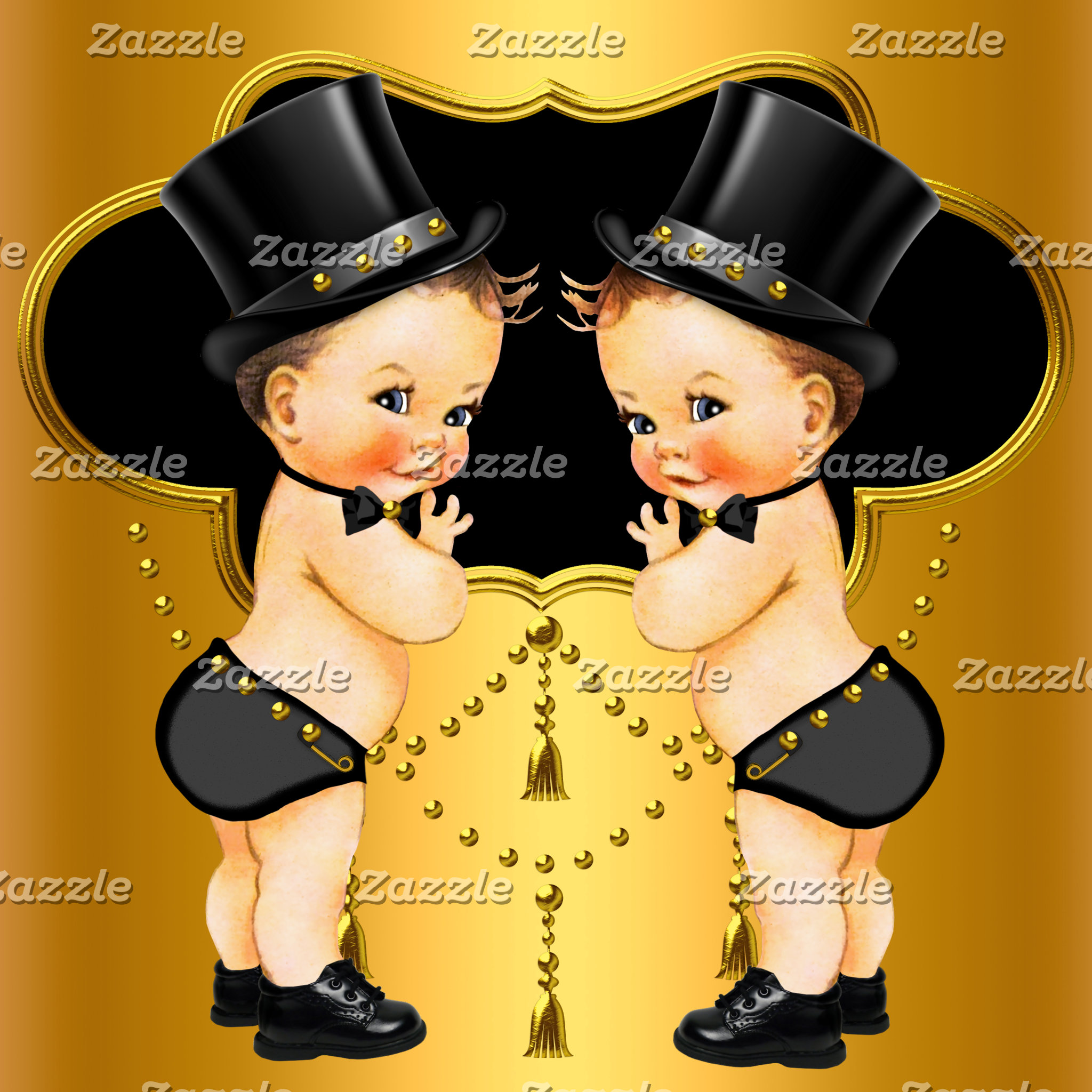 TWIN BOYS Baby Shower Invitations