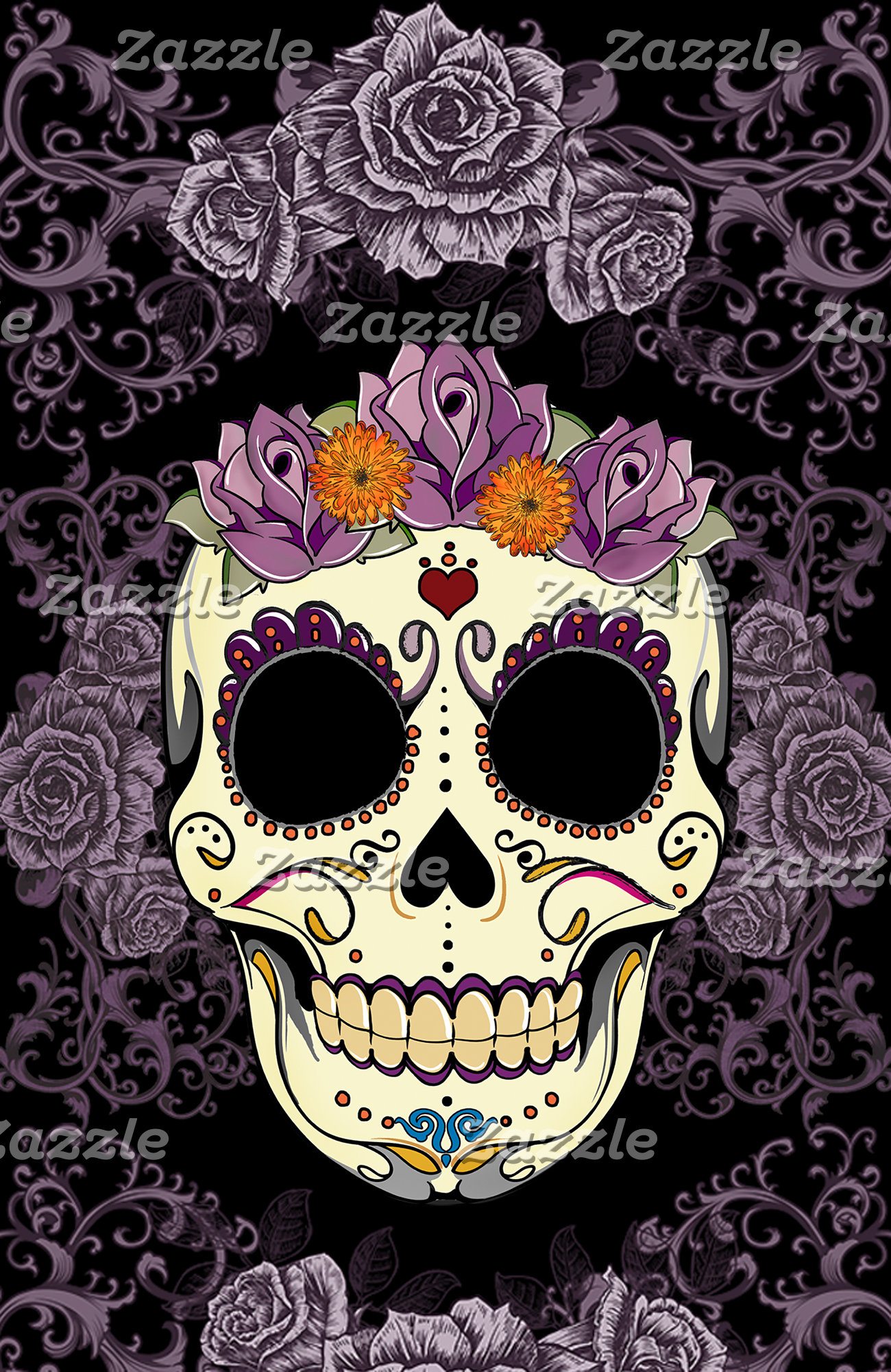Vintage Skull and Roses