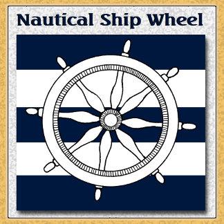 Nautical Ship Wheel on Stripes