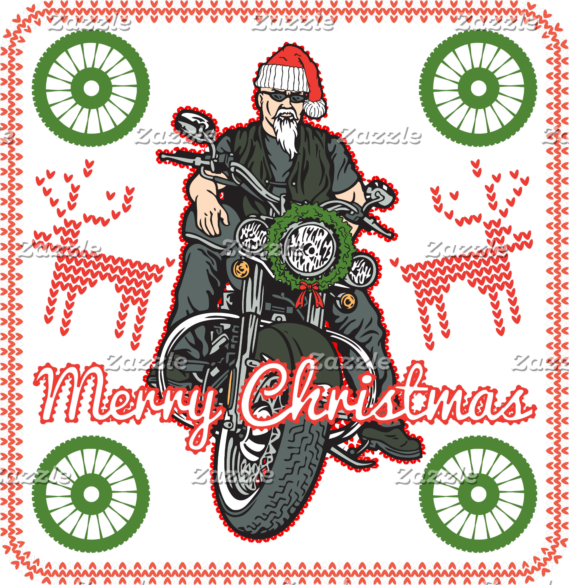 Merry Christmas Santa Biker Motorcycle Holiday