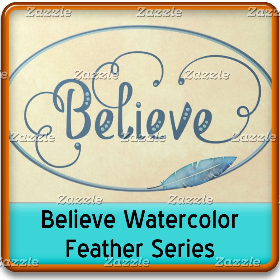 BELIEVE Typography & Feather Blue Teal Watercolor