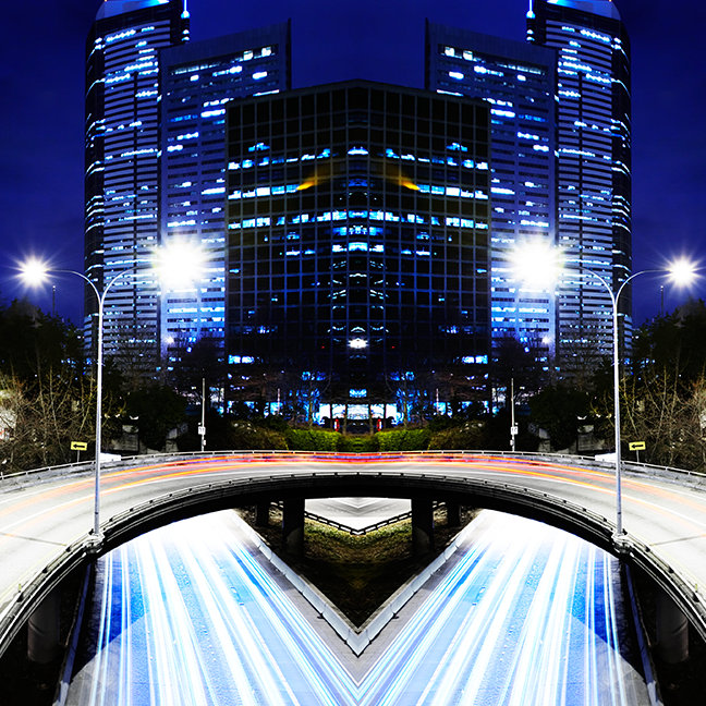 Digital composite of city scape