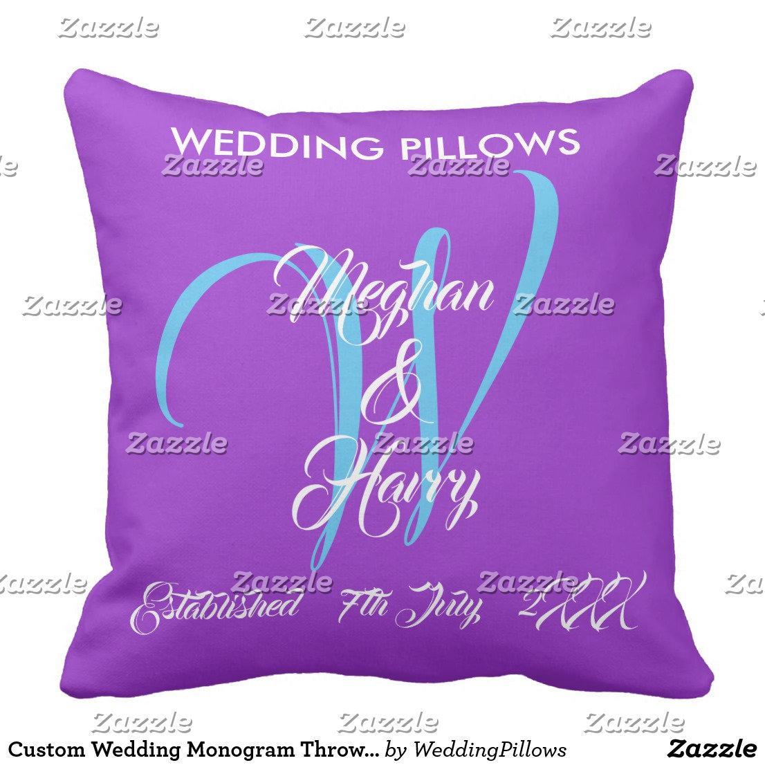 Bride & Groom Monogram Throw Pillows ORCHID PURPLE