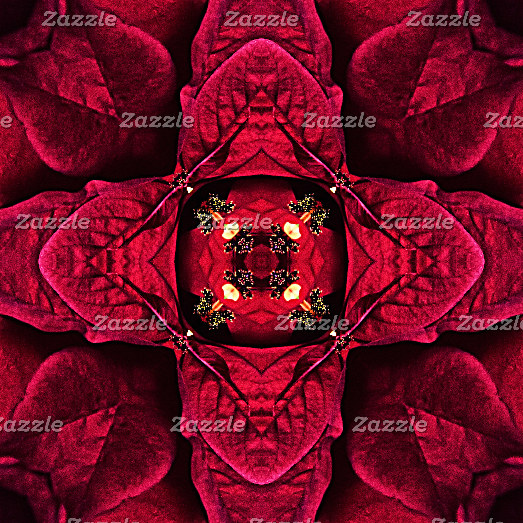 Red Poinsettias Abstract 9