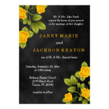 Black Chalkboard and Yellow Rose Wedding