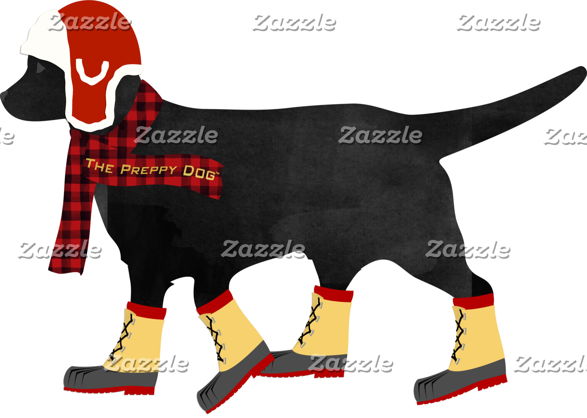 Winter Black Lab Preppy Dog
