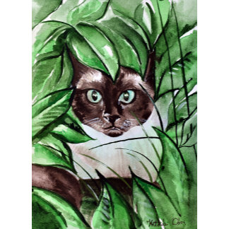 Peek A Boo Siamese Cat Art