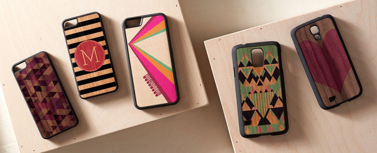 Capinhas de madeira para smart phone. Celulares com capas de madeira real.