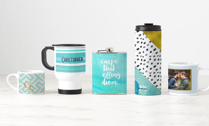Canecas e garrafas personalizáveis da Zazzle