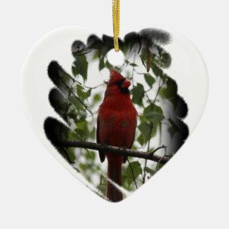 Swerl cardinal ornamento de cerâmica coração