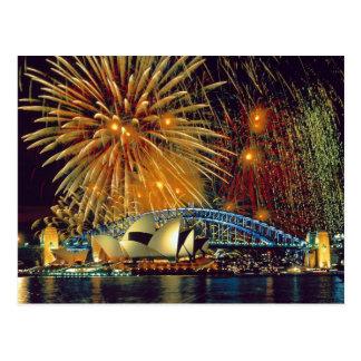 Sydney sob o cartão dos fogos-de-artifício