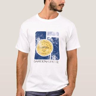 T afligido logotipo do bosque do jardim do vintage camiseta