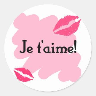 T aime de Je - Francês eu te amo Adesivos Em Formato Redondos