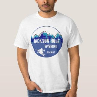 T azul do valor da arte do esqui de Jackson Hole Camiseta