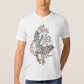 T bege azul do pássaro tshirts