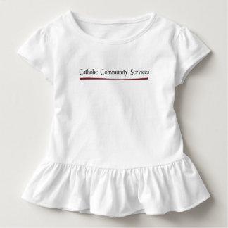 T católico do plissado do bebé dos serviços camiseta infantil