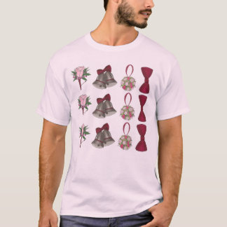 T cor-de-rosa nupcial de Bowtie da flor de Bels de Camiseta