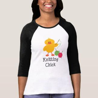 T de confecção de malhas do Raglan do pintinho Tshirt