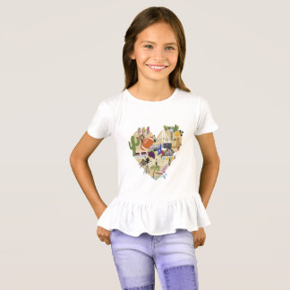 T de Texas do plissado das meninas Camiseta