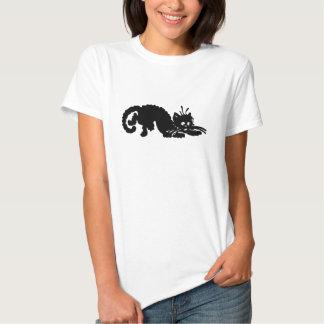 T do gato preto das senhoras camisetas