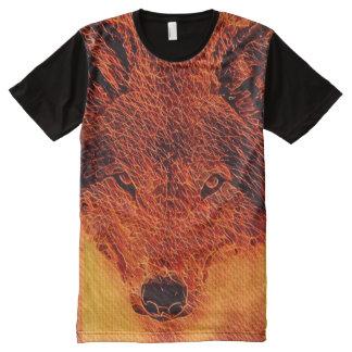 T do gráfico da arte do Fractal do lobo do fogo Camisetas Com Impressão Frontal Completa