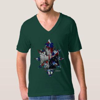 T do V-Pescoço dos homens da cruz do ferro dos Camiseta
