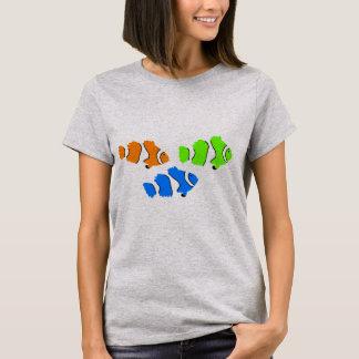T do verão das mulheres dos peixes do palhaço camiseta
