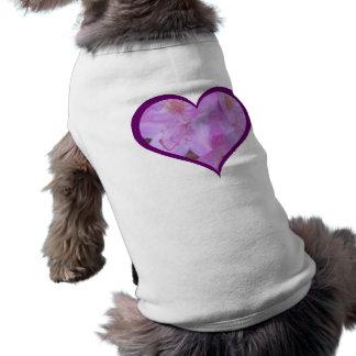 T floral cor-de-rosa aparado ameixa do cão do camisa sem mangas para cachorro