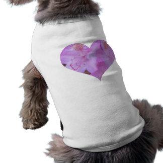 T floral cor-de-rosa do cão do coração camisa sem mangas para cachorro