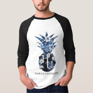T floral do basebol dos homens do logotipo tshirt