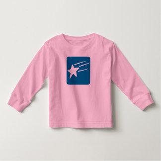 T longo da luva da menina com estrela de tiro t-shirt