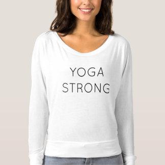 T longo forte do fluxo da luva da ioga camiseta