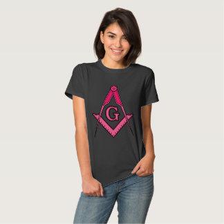 T quadrado maçónico cor-de-rosa do compasso camisetas