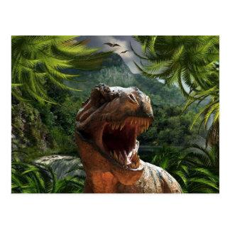 T-Rex no dinossauro do cartão da selva