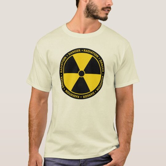 T-shirt amarelo do símbolo da radiação camiseta