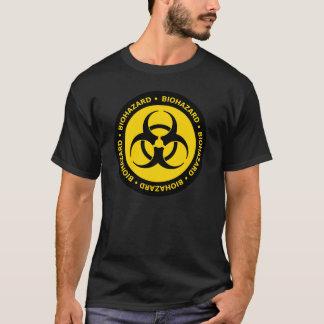 T-shirt amarelo do símbolo do Biohazard