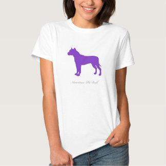 T-shirt americano do pitbull (silhueta roxa)
