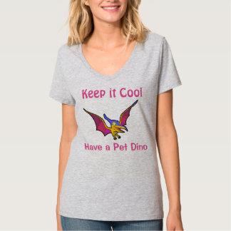 T-shirt animal da mulher do pássaro de Dino do