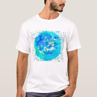T-shirt azul brilhante do impressão Funky da arte Camiseta