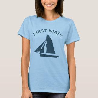 T-shirt azul da boneca das senhoras do marinheiro camiseta