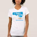 t-shirt azul das senhoras do pássaro do Twitter do
