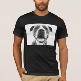T-shirt azul de Pitbull do nariz Camiseta