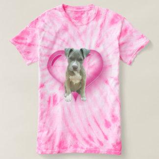 T-shirt azul do filhote de cachorro do pitbull da camiseta