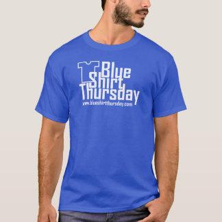 T-shirt azul do logotipo de quinta-feira da camisa