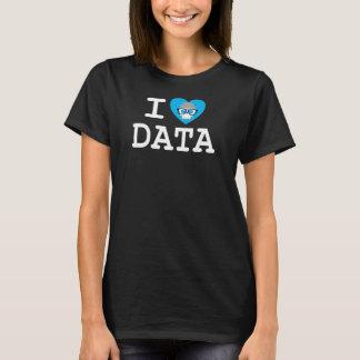 T-shirt básico do preto dos dados do coração das camiseta