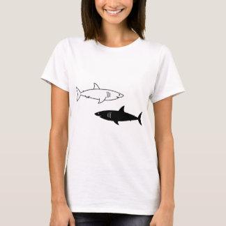 T-shirt básico dos tubarões preto e branco camiseta
