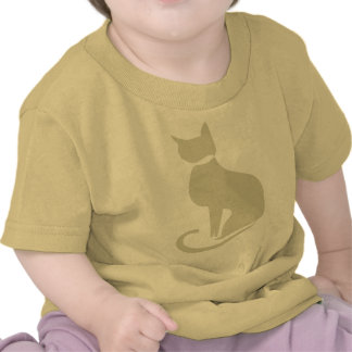 T-shirt bege da criança do gato